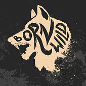Born wild. Wolf head on grunge background. T-shirt print template