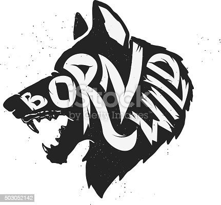 Born Wild Wolf Stock Vector Art Amp More Images Of