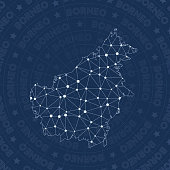 Borneo network, constellation style island map. Indelible space style, modern design. Borneo network map for infographics or presentation.
