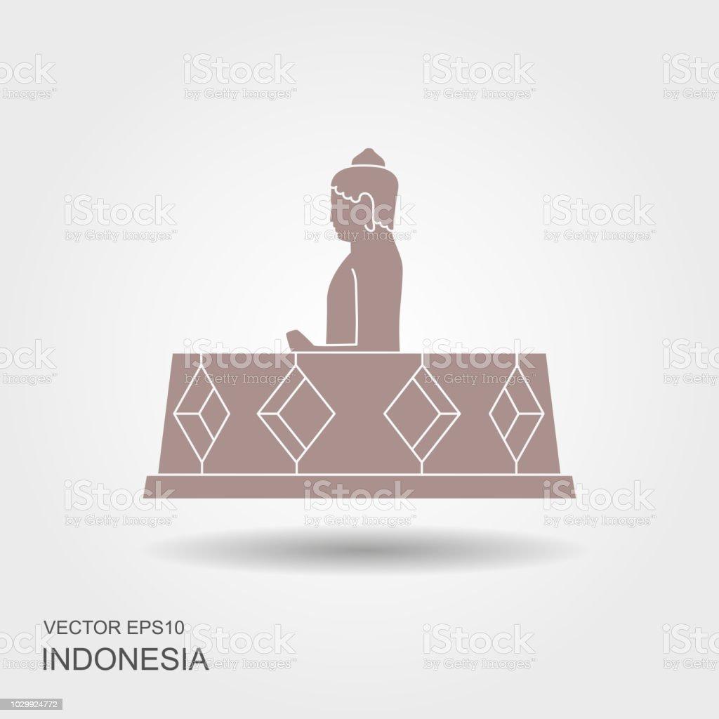 Borobudur ancient temple. Indonesia landmark icon vector art illustration