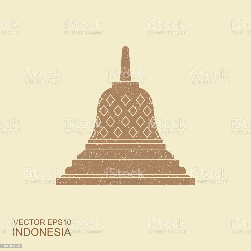 Borobudur ancient temple. Indonesia landmark icon vector vector art illustration