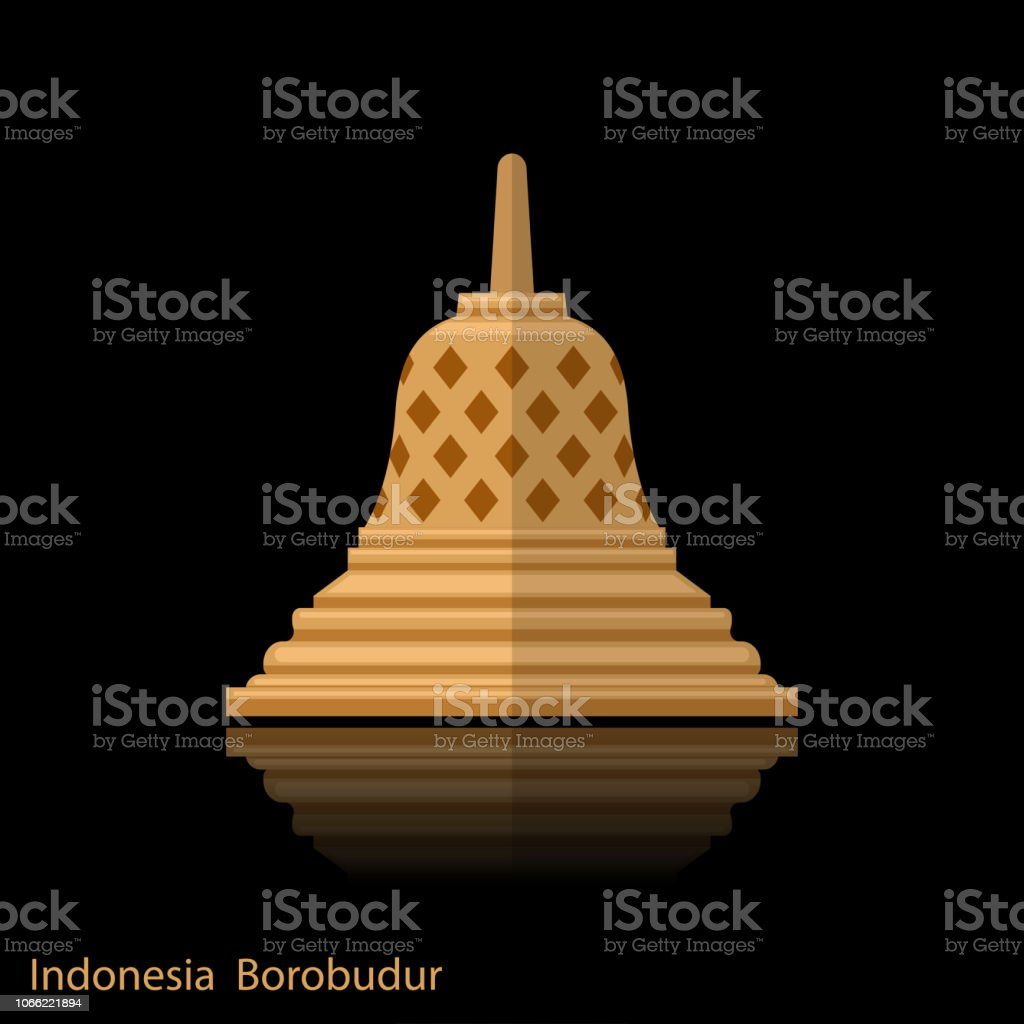 Borobudur ancient temple. Indonesia landmark icon with with reflection vector art illustration
