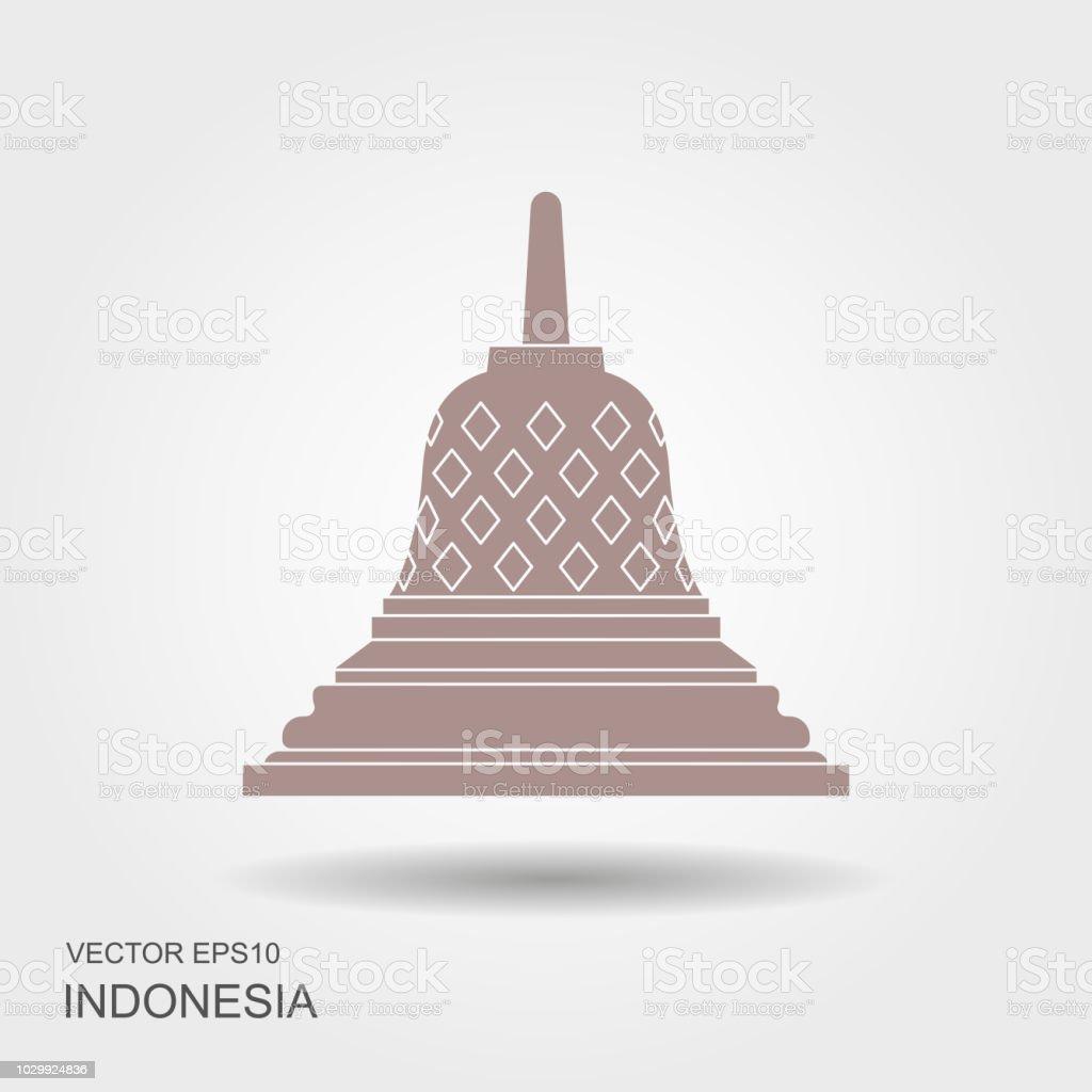 Borobudur ancient temple. Indonesia landmark vector art illustration