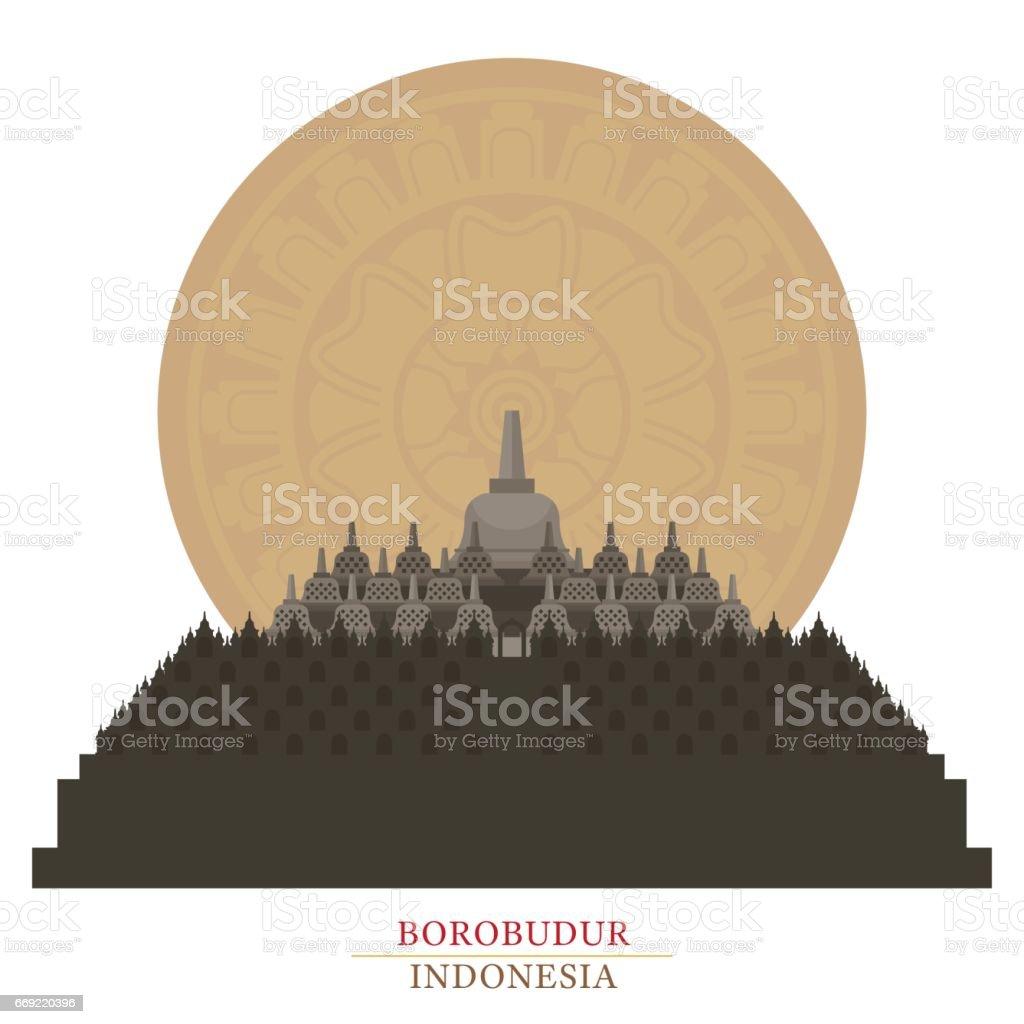Borobudur, Indonesia vector art illustration