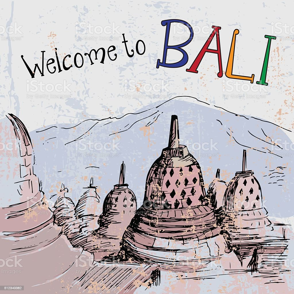 Borobudur is Mahayana Buddhist Temple - Indonesia vector art illustration