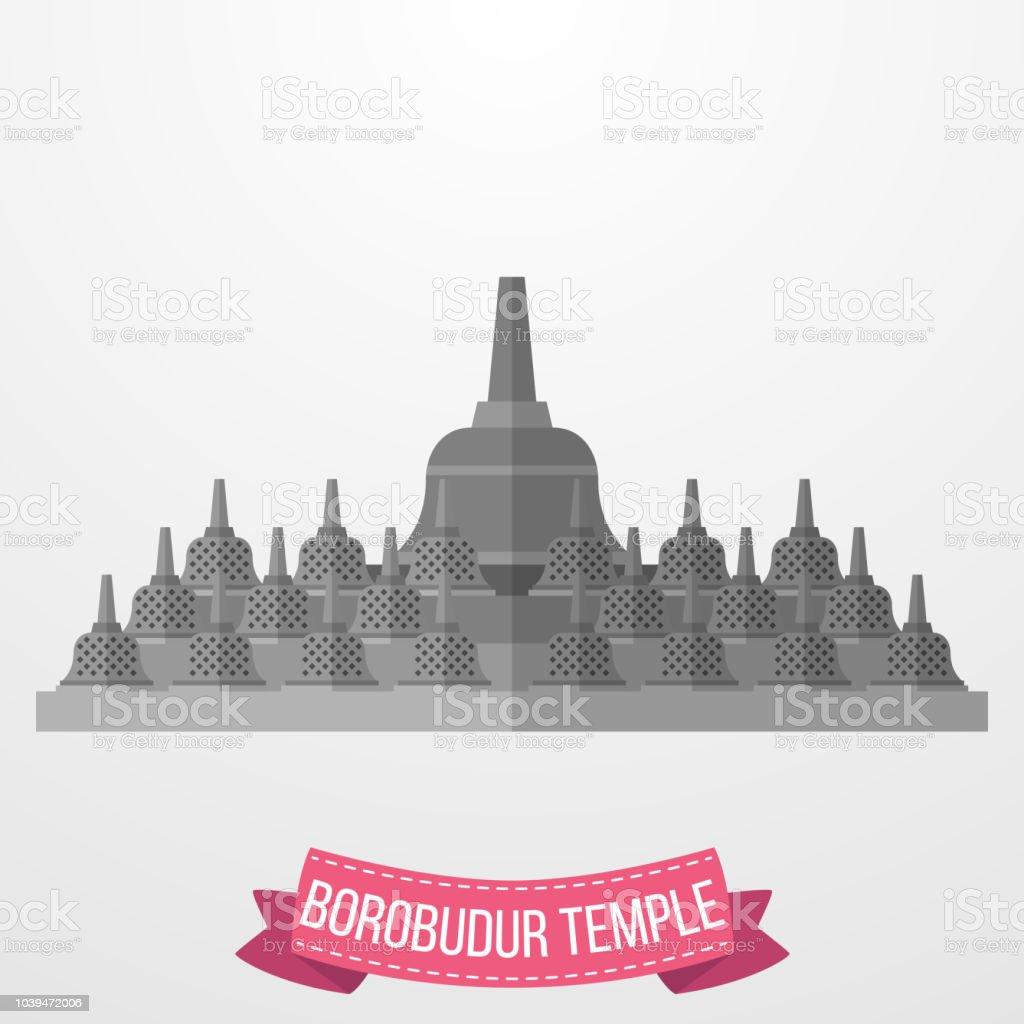 Borobudur Temple icon on white background vector art illustration