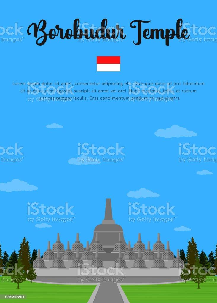 Borobudur Temple in Indonesian vector art illustration