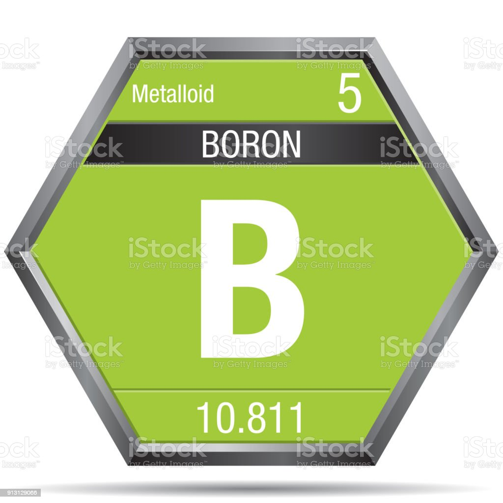 Boron Symbol In The Form Of A Hexagon With A Metallic Frame Element