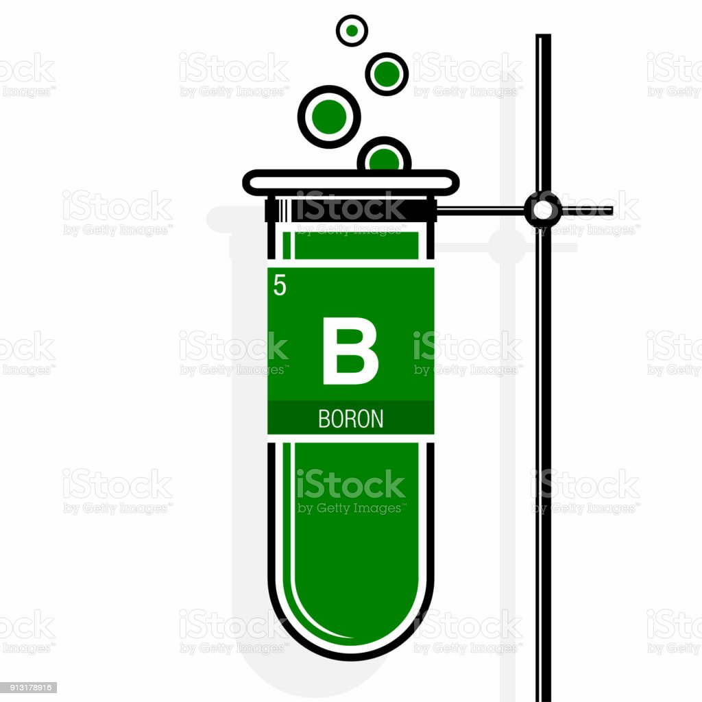 Boron Symbol On Label In A Green Test Tube With Holder Element