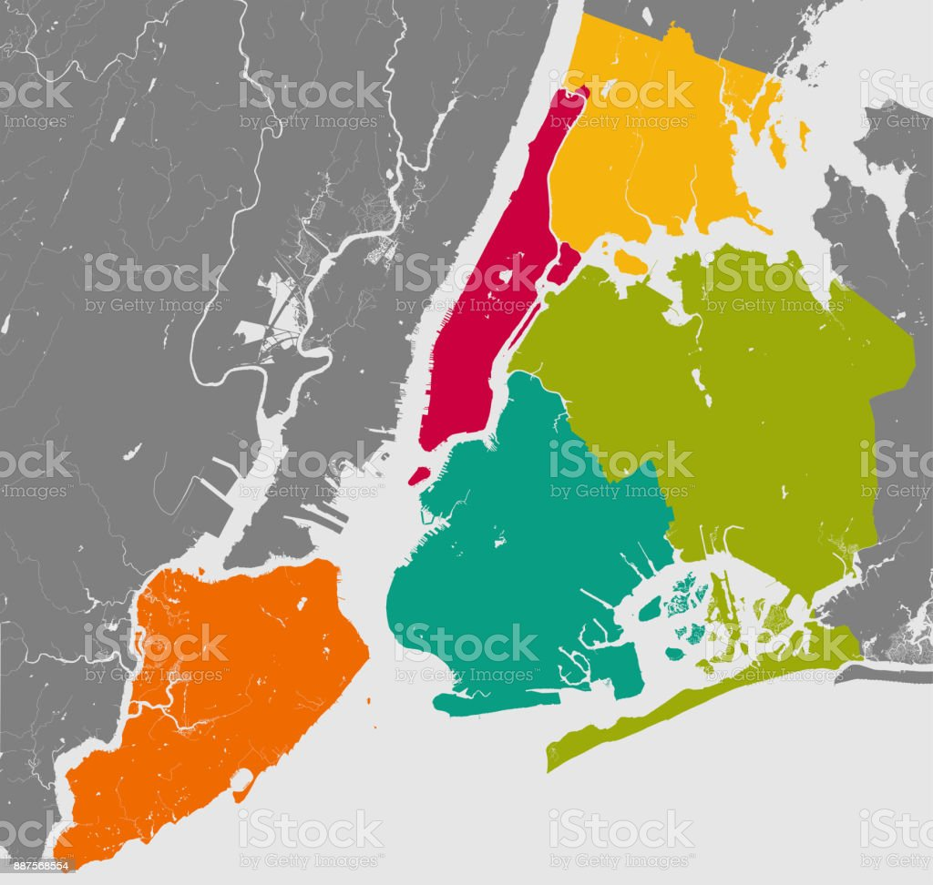 New York Map Boroughs.Boroughs Of New York City Outline Map Stock Vector Art More Images