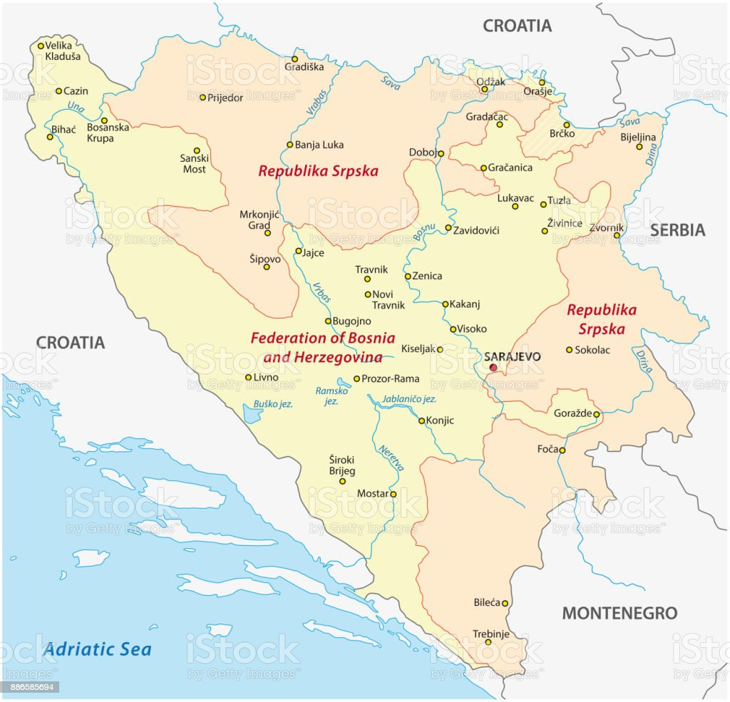 Bosnia And Herzegovina Administrative And Political Map Stock Vector