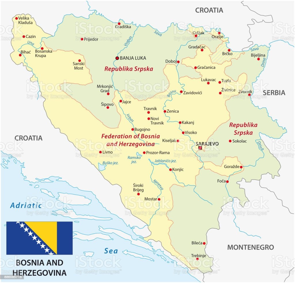 bosnia and herzegovina administrative and political map with flag vector art illustration