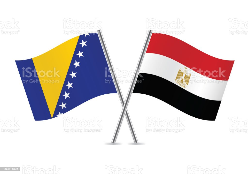 Bosnia and Herzegovina and Egypt flags. Vector illustration.