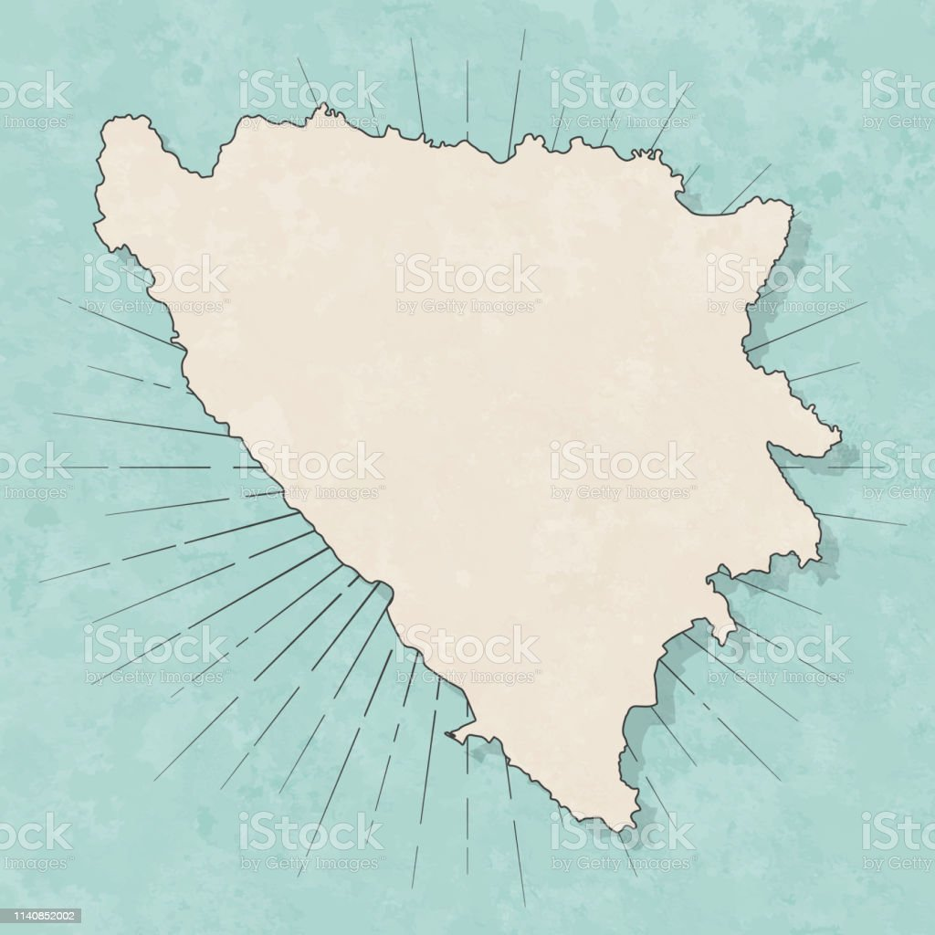 Map of Bosnia and Herzegovina in a trendy vintage style. Beautiful...
