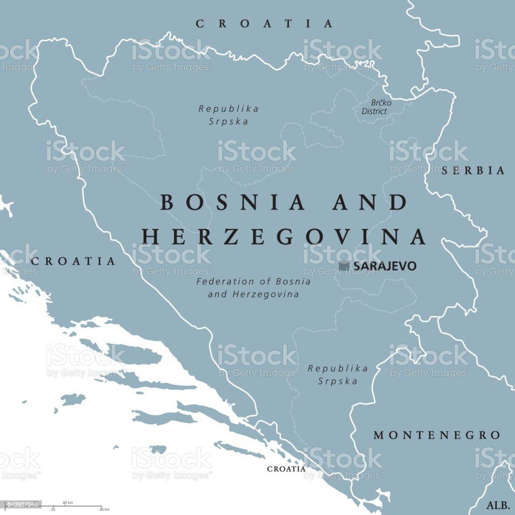 Image of: Bosnia And Herzegovina Political Map With Capital Sarajevo Stock Illustration Download Image Now Istock