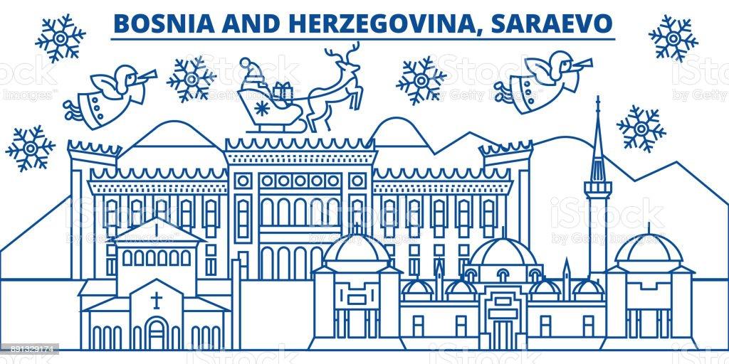 Bosnien Und Herzegowina Saraevo Winter Skyline Der Stadt Frohe ...