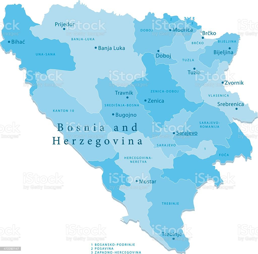 Bosnia Herzegovina Vector Map Regions Isolated Stock Vector Art
