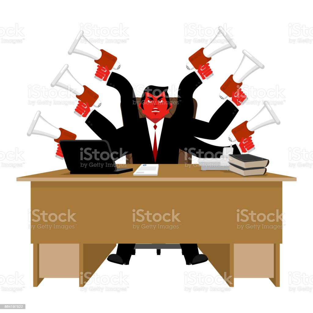 Boss and megaphone. Businessman and lots of hands. Director scolds through bullhorn. Give orders and instructions. Chief is wicked. Vector illustration royalty-free boss and megaphone businessman and lots of hands director scolds through bullhorn give orders and instructions chief is wicked vector illustration stock vector art & more images of adult