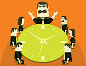 vector illustration of boss and business people meeting with clock