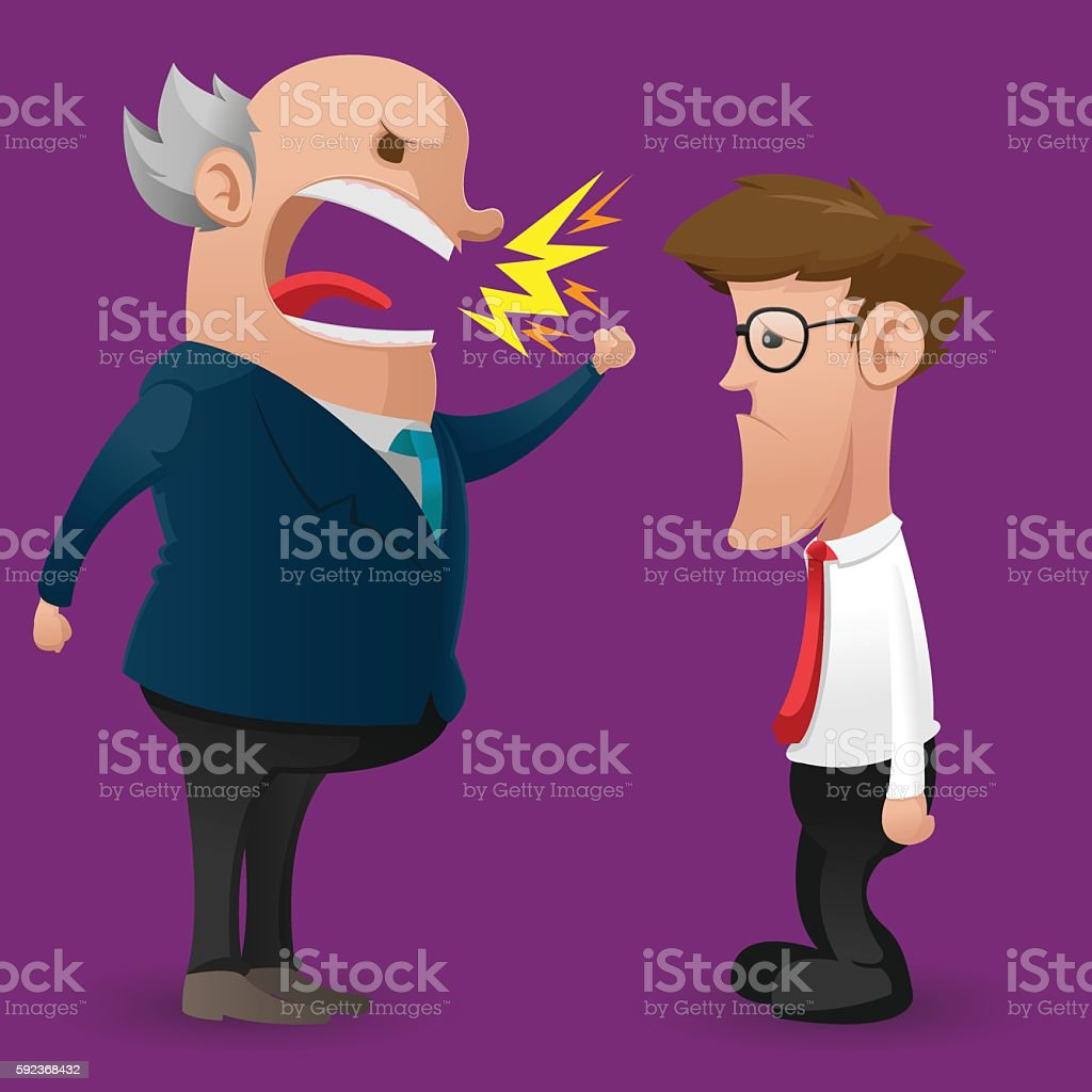 Boss Anger Scold Employee Cartoon Vector vector art illustration