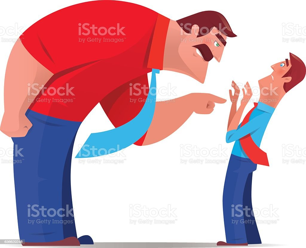 boss blaming and pointing colleague vector art illustration