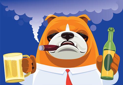 boss bulldog holding mug and bottle of beer