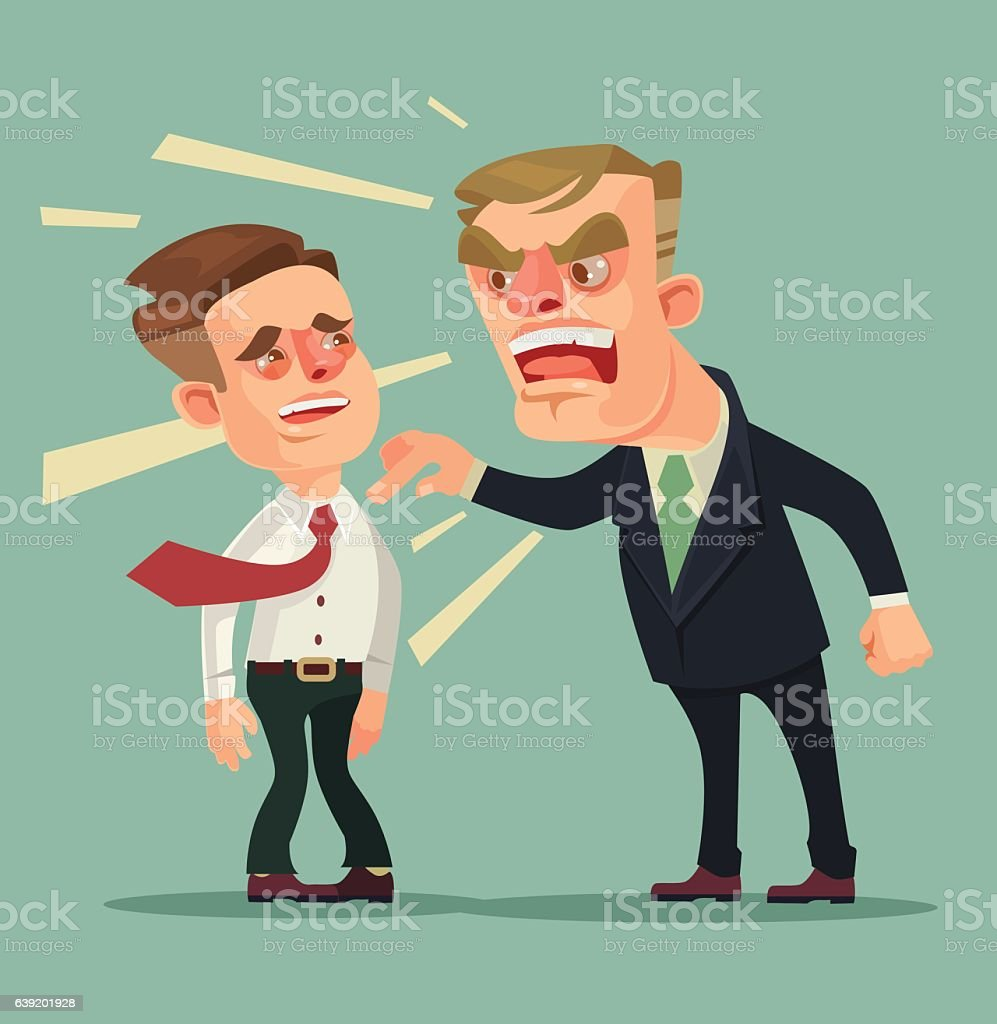 Boss character screams on worker. Vector flat cartoon illustration vector art illustration