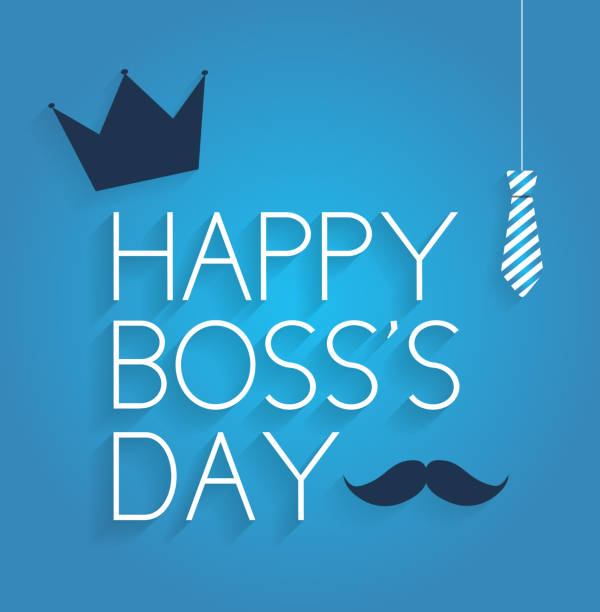 Boss Day poster on blue background with hanging tie, crown and mustache Boss Day poster on blue background with hanging tie, crown and mustache. Vector illustration. All elements are separate. Easily modifying. No mesh. EPS10 happy boss stock illustrations