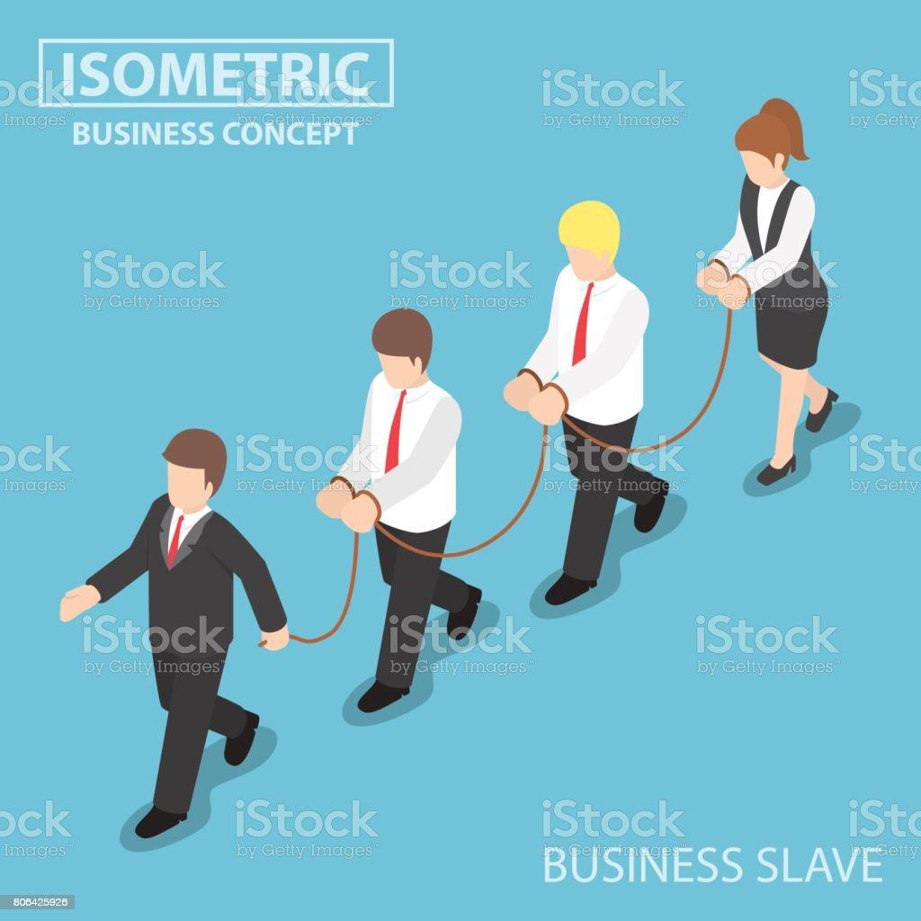Chefe domina seu empregado como um escravo - ilustração de arte em vetor