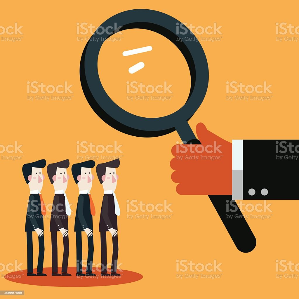 Boss examining employees with magnifying glass. Recruitment candidates concept vector art illustration