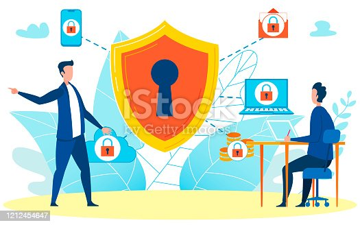 istock Boss Giving Briefing on Security Illustration 1212454647