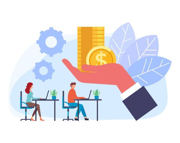 Boss hand giving salary money to employee. Vector flat graphic design cartoon illustration vector art illustration