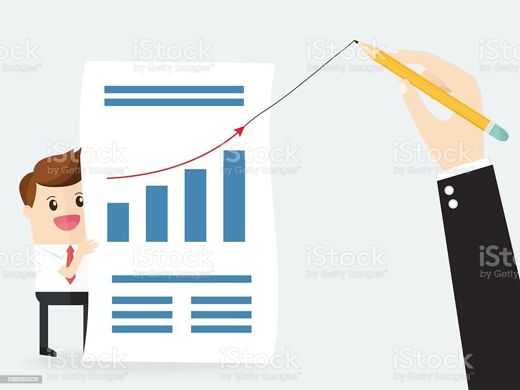 boss holding a pencil and draw growth line graph royalty-free boss holding a pencil and draw growth line graph stock vector art & more images of achievement