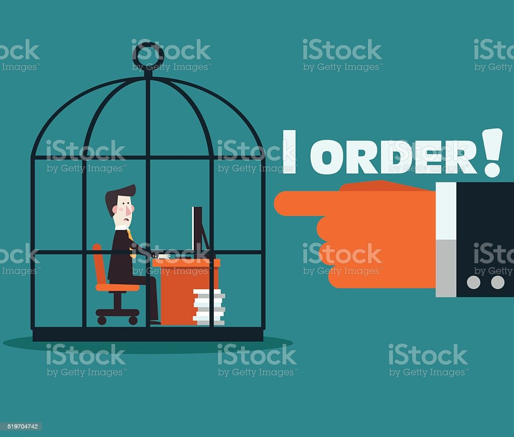Boss holding his employee in a cage. Work under pressure vector art illustration