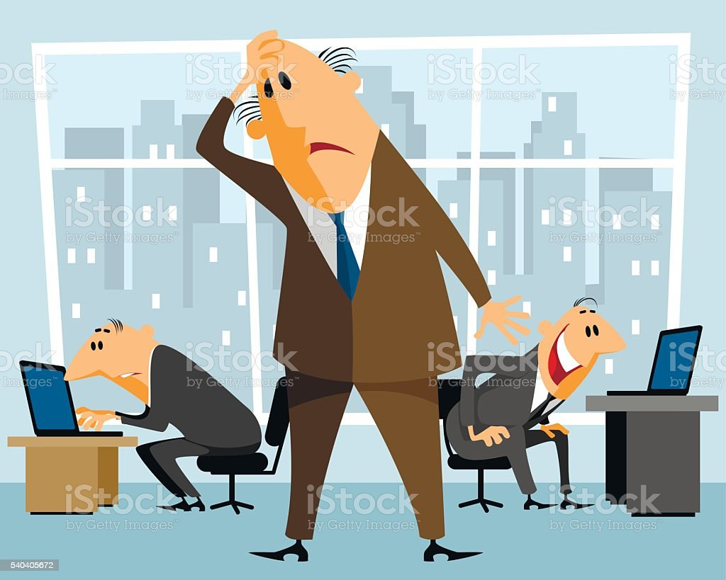 Boss in perplexity vector art illustration