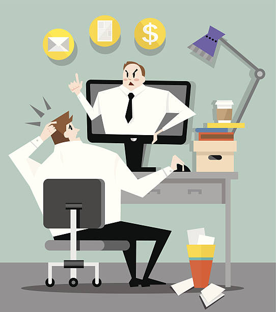 boss in the office - old man crying clip art stock illustrations, clip art, cartoons, & icons
