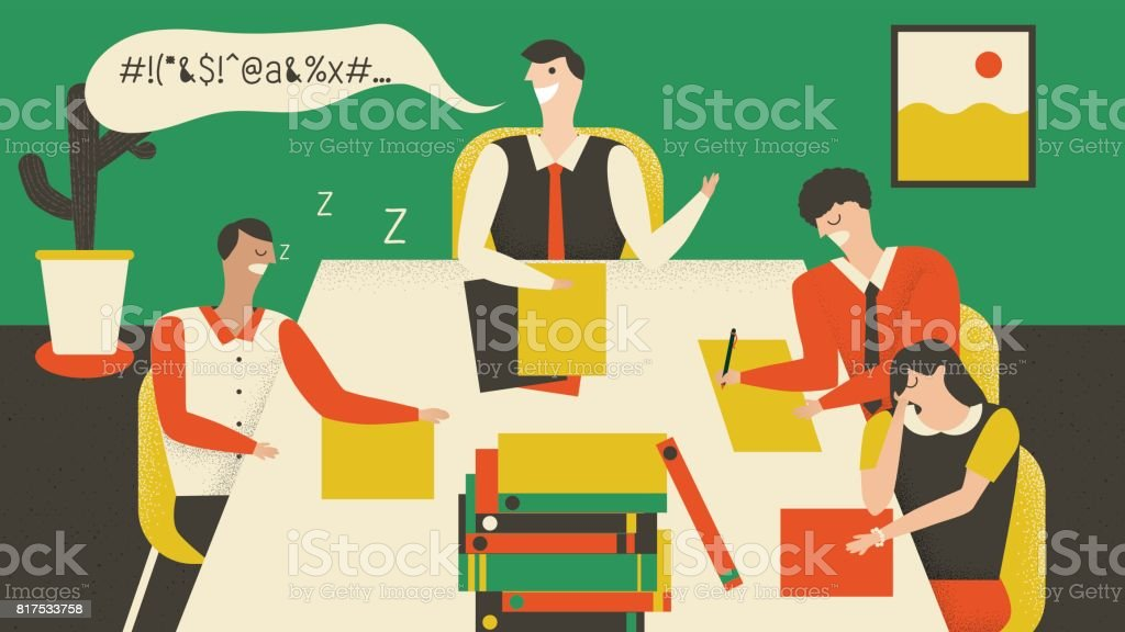 Boss is a speech in meeting room but employee falling asleep vector art illustration