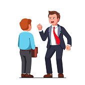 Boss man in business suit yelling at office clerk reprimanding and bullying vector clipart illustration