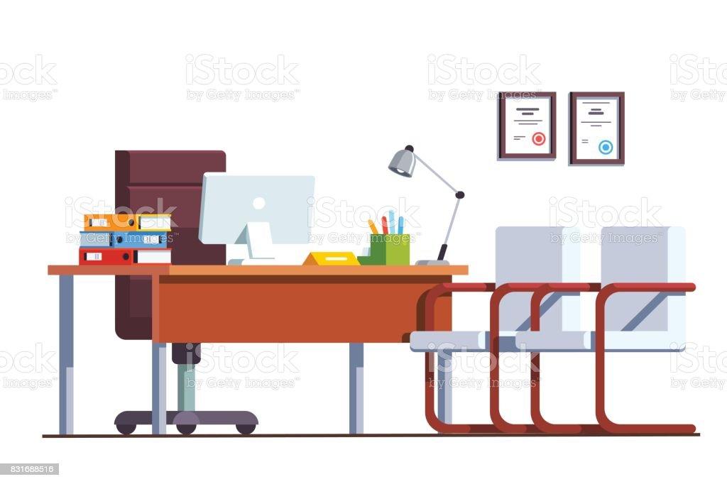Ilustraci n de jefe de la oficina de la sala con for Ordenadores para oficina
