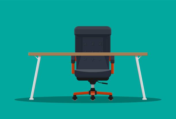 ilustrações, clipart, desenhos animados e ícones de cadeira do chefe ou ceo e desktop. - ceo