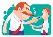 vector illustration of boss  pointing at businessman