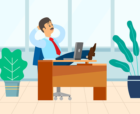 Boss Relaxing in Room with Plants, Chef Employer