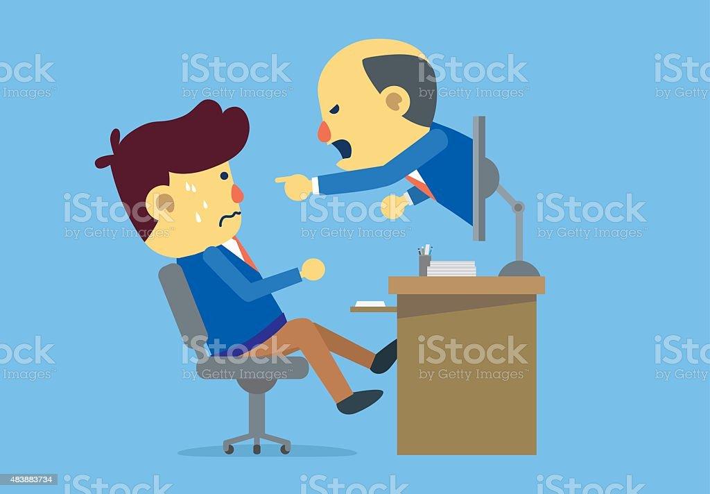 Boss reprimanding subordinate with online communication vector art illustration