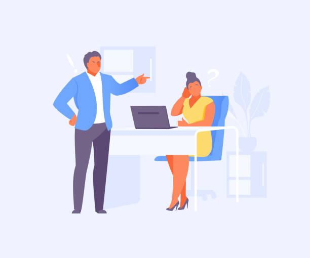 ilustraciones, imágenes clip art, dibujos animados e iconos de stock de jefe reprime vector de empleado - mandón
