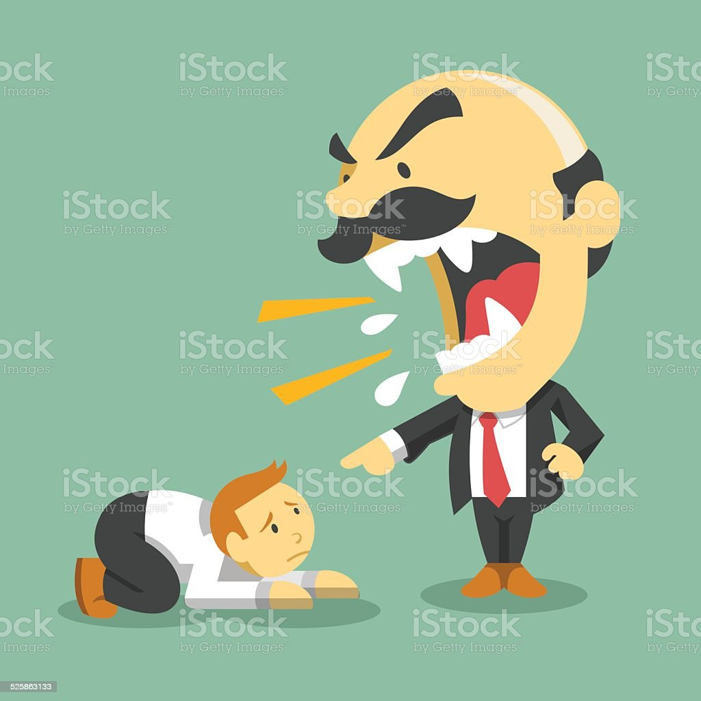 Boss screams on worker. Vector flat illustration vector art illustration
