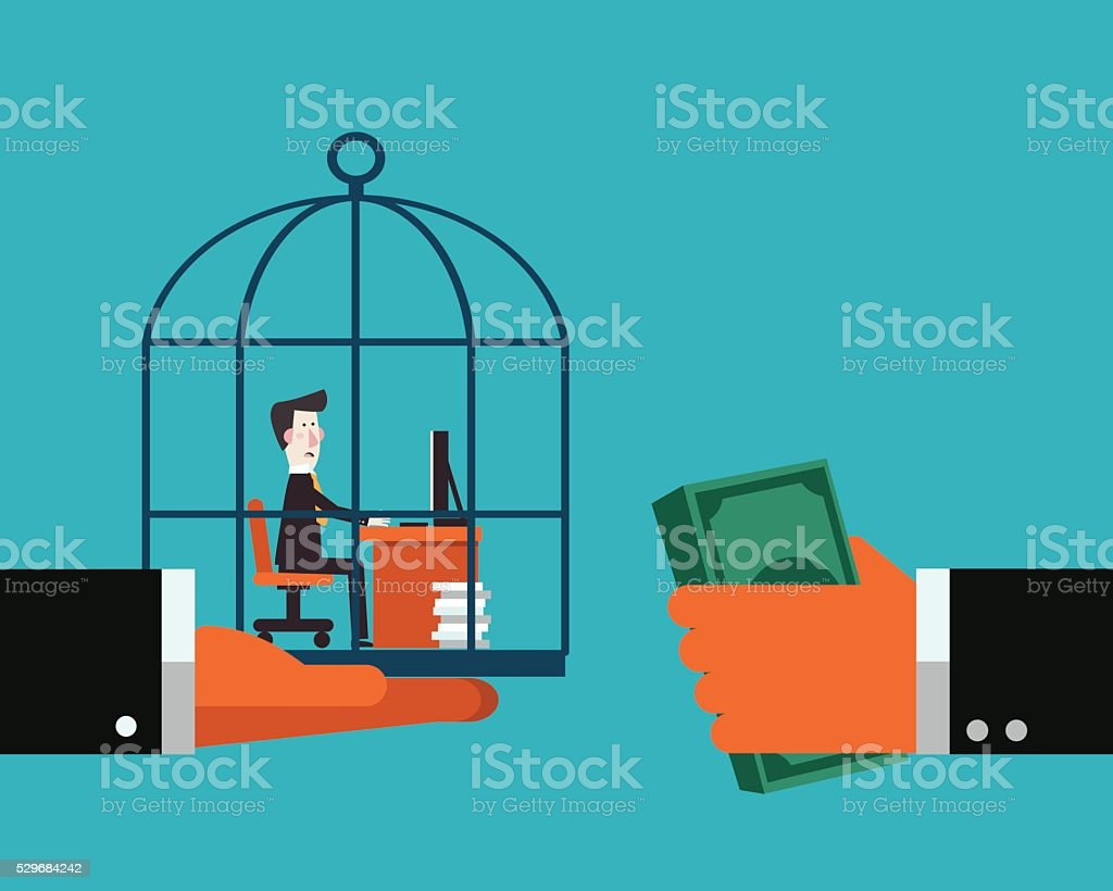 Boss sells his employee in a cage vector art illustration
