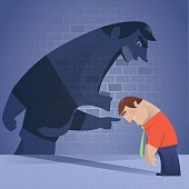 vector illustration of boss shadow blaming and pointing businessman…