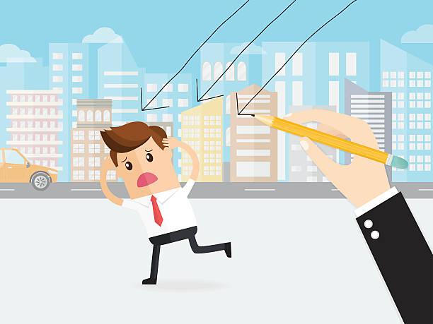 ilustrações, clipart, desenhos animados e ícones de boss using a pencil draw arrow line attack business man - desenhos aleatórios e à mão livre