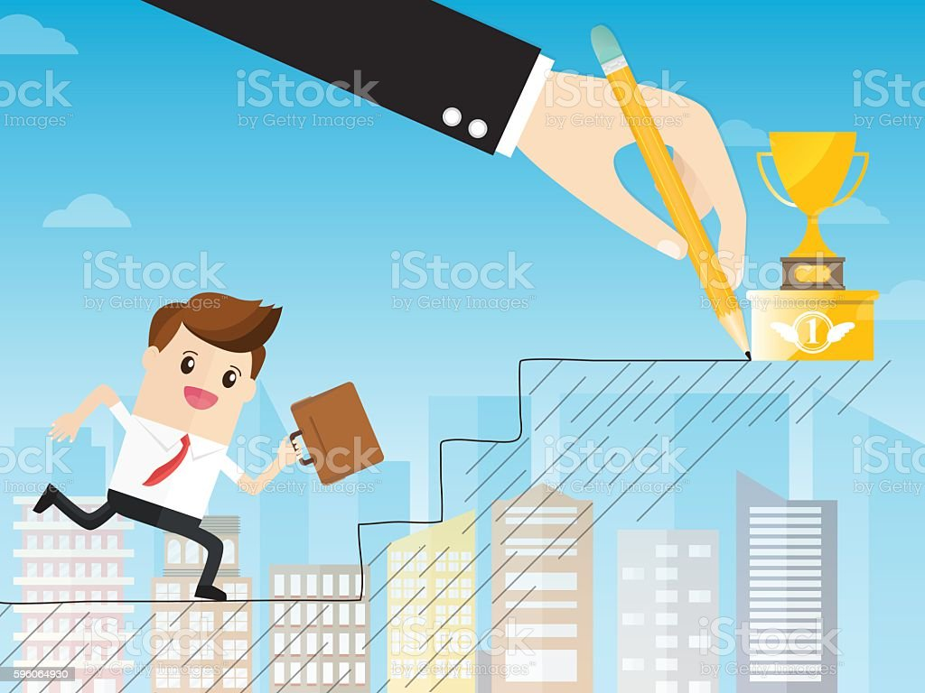 boss using a pencil draw path with staircase royalty-free boss using a pencil draw path with staircase stock vector art & more images of abstract