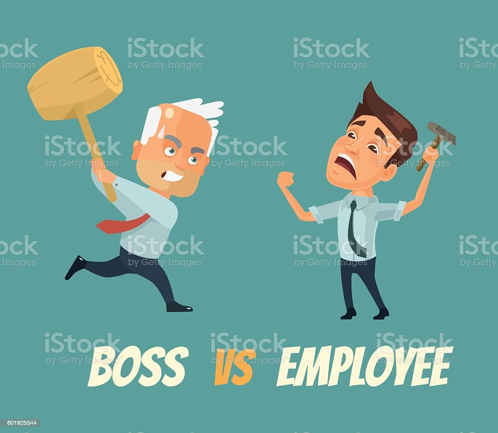 Boss vs worker characters. Vector flat cartoon illustration vector art illustration